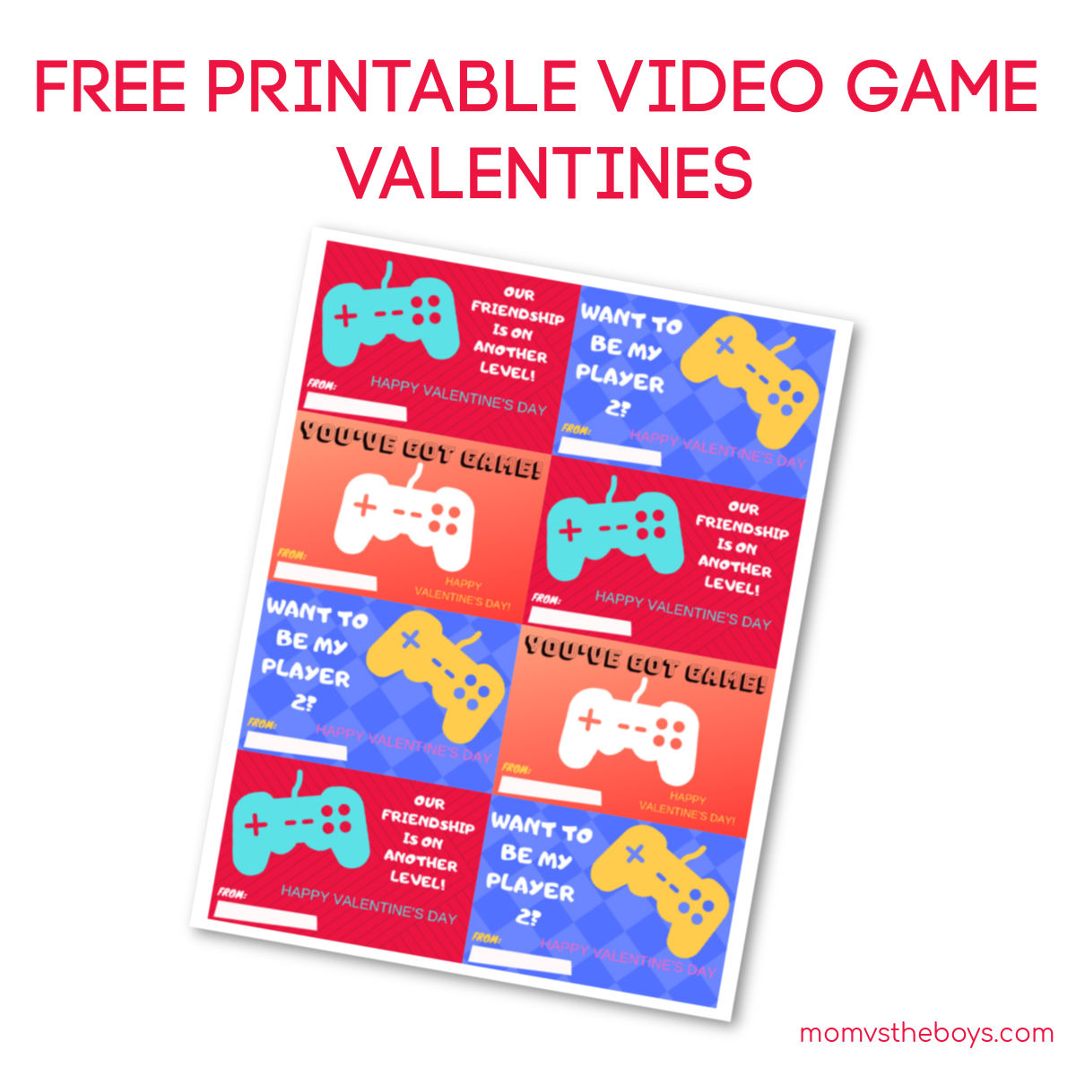 photo regarding Printable Video identified as Video clip Video game Valentines - Totally free Printable! - Mother vs the Boys