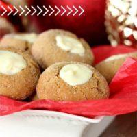 White Chocolate Gingerbread Thumbprint Cookies