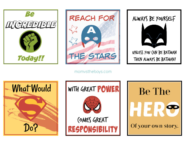 superhero lunchbox notes printable