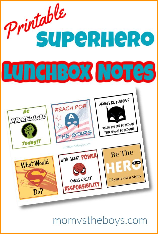superhero lunch box notes