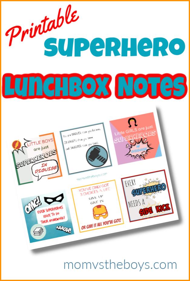 super hero lunchbox note