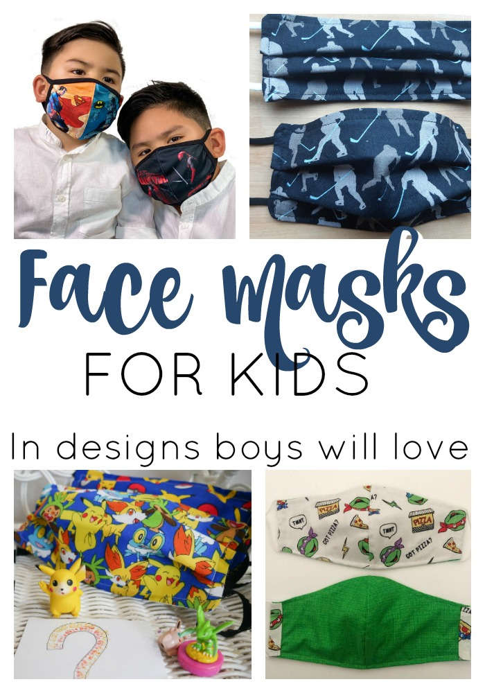 face masks for kids in designs boys will love