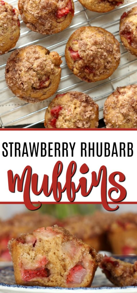 Strawberry Rhubarb Muffins with a crunchy Streusel Topping